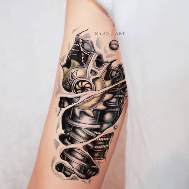 Cool Unique Robot Bionic Arm Bicep Temporary Tattoo Ideas for Women or Men - www.MyBodiArt.com