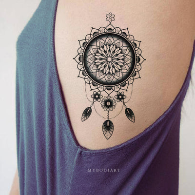 Boho Tribal Mandala Dreamcatcher Side Rid Temporary Tattoo Ideas for Women Black Henna Tat -  ideas frescas del tatuaje para las mujeres - www.MyBodiArt.com
