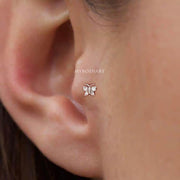 Cute Simple Crystal Butterfly Tragus Ear Piercing Jewelry Ideas for Women -  piercing de oreja de mariposa - www.MyBodiArt.com #piercings