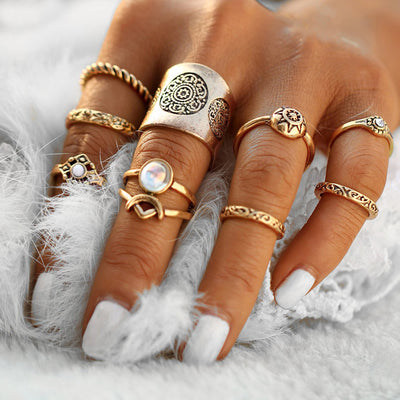 Boho Ring Set - Opal Cute Stackable Vintage Antiqued Multiple Midi Rings Fashion Jewelry in Gold or Silver -conjunto de anillos de oro bohemio - www.MyBodiArt.com