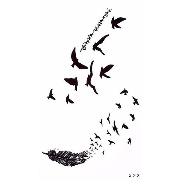 Flying Bird Sparrow Silhouette Temporary Tattoo Ideas for Women - www.MyBodiArt.com
