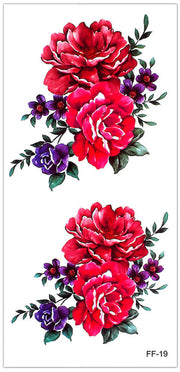 Vintage Red Floral Flower Temporary Tattoo Ideas for Women for Teen Girls - www.MyBodiArt.com #tattoos