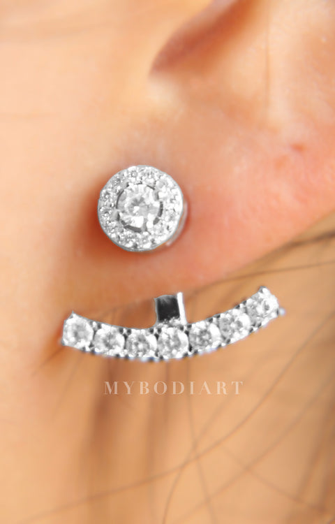 Fancy Classy Ear Piercing Ideas for Women - Halo Crystal Ear Jacket Earring Circle Stud and Bar in Silver - www.MyBodiArt.com