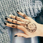 Womens Black Boho Tribal Moon Chandelier Hand Tattoo Ideas for Teens - tribal moon hand tattoo ideas para mujeres - www.MyBodiArt.com #tattoos