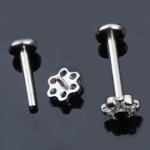 Crystal Flower Ear Piercing Jewelry Earring Stud for Cartilage Helix Tragus Conch Medusa Labret Jewelry Jewellery - www.MyBodiArt.com