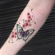 Beautiful Watercolor Butterfly Floral Forearm Arm Temporary Tattoo Ideas for Women -  Ideas de tatuaje de antebrazo de mariposa para mujeres  - www.MyBodiArt.com