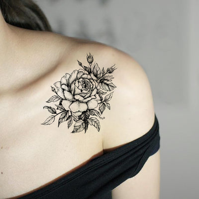 Traditional Rose Tattoo Ideas on Shoulder  - Vintage Realistic Black Floral Flower Arm Tat - ideas de tatuaje de hombro negro rosa - www.MyBodiArt.com #tattoos