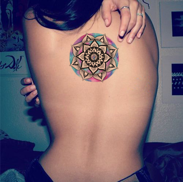 Watercolor Geometric Mandala Back Tattoo Ideas for Women - Popular Tribal Tats -www.MyBodiArt.com #tattoos