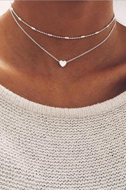 Cute Simple Modest Heart Choker Necklace in Silver Double Layered Statement Jewelry  at MyBodiArt.com