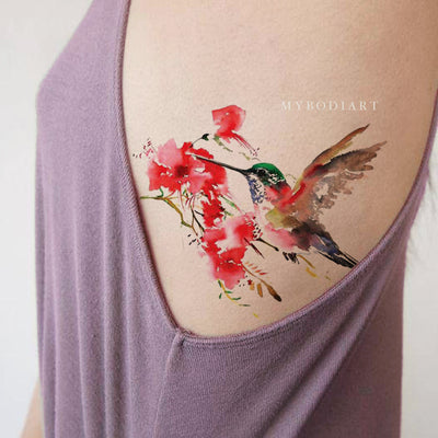 Beautiful Watercolor Hummingbird Rib Temporary Tattoo Ideas for Women -  Acuarela pájaro costilla tatuaje ideas para mujeres - www.MyBodiArt.com