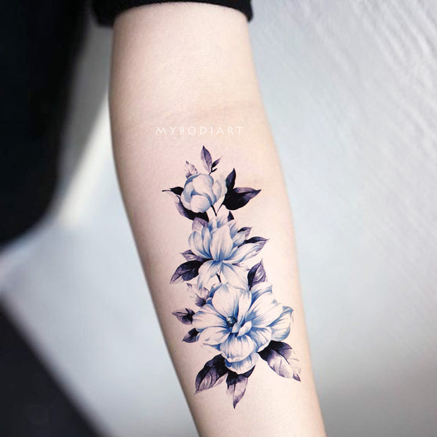 Cute Blue Watercolor Floral Flower Forearm Tattoo Ideas for Women -  Lindas flores de acuarela azul antebrazo tatuaje ideas - www.MyBodiArt.com