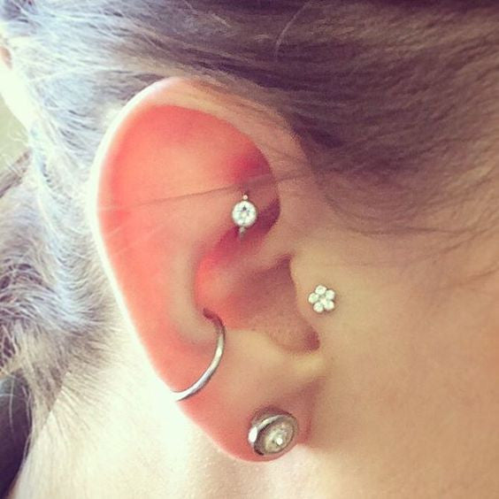 Crystal Flower Tragus Piercing - Cute Ear Piercing Ideas at MyBodiArt.com
