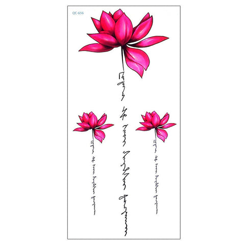 Cute Watercolor Pink Lily Lotus Script Quote Tattoo Ideas for Women - Floral Flower Tattoos - ideas de tatuajes de acuarela lotus script para las mujeres - www.MyBodiArt.com