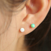 Cute Simple Ear Piercing Ideas Opal Ball Earring Stud for Cartilage, Helix, Conch, Ear Lobe - lindo opal simple orejas piercing ideas para las mujeres - www.MyBodiArt.com