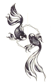 Small Pisces Koi Fish Tattoo Ideas for Women - Black and White Japanese Ying Yang Ring Temporary Tattoos  - www.MyBodiArt.com #tattoos