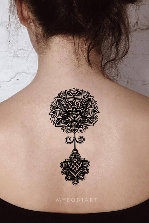 cf8303062 Boho Black Henna Mandala Lotus Spine Back Tattoo Ideas for Women - Boho  loto volver tatuaje