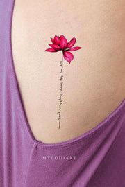 Pink Lotus Rib Tattoo Ideas for Females Watercolor Flower Floral Side Tat - www.MyBodiArt.com #tattoos