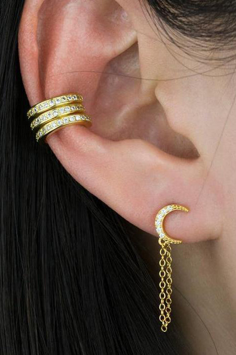Carina Cute Moon Chain Drop Ear Piercing Jewelry Earring Studs
