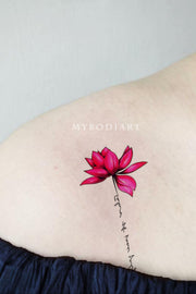 Female Prettty Beautiful Watercolor Lotus Floral Flower Shoulder Tattoo Ideas for Women - www.MyBodiArt.com #tattoos