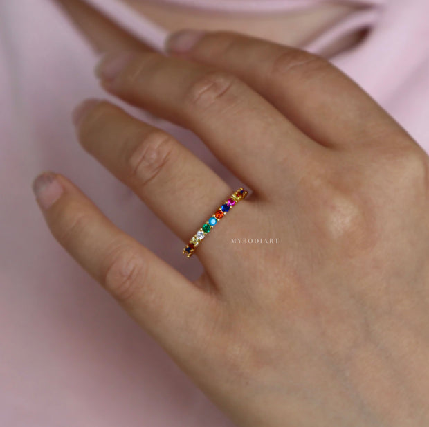 Cute Unique Simple Dainty Rainbow Pave Gemstone Crystals Band Rings Statement Fashion Jewelry for Women for Teens Girls in Gold - lindo delicado arco iris pavimenta los anillos - www.MyBodiArt.com