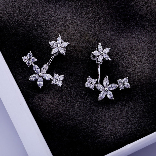 Cute Pretty Ear Piercing Ideas for Teens - Crystal Flower Ear Jacket Earring - www.MyBodiArt.com #earrings