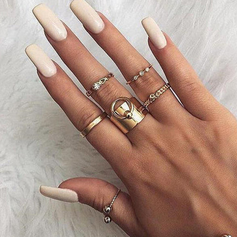 Unique Gold Fashion Ring Set Simple Minimalist Modern Midi Knuckle Stackable Fashion Rings in Gold - www.MyBodiArt.com #rings