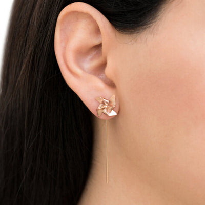 Unique Minimal Ear Piercing Ideas - Pinwheel Windmill Drop Earrings - www.MyBodiArt.com #earrings