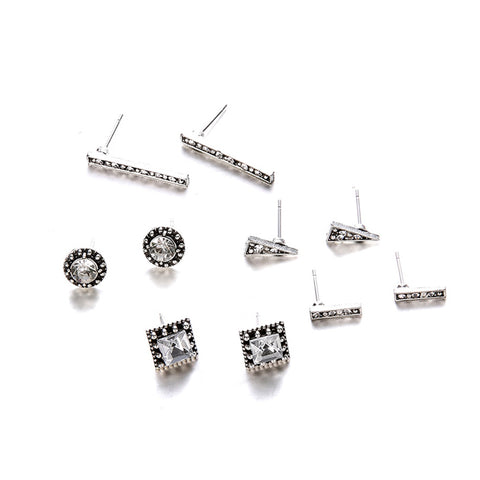 Cute Geometric Minimalist Crystal Earring Studs Set Traditional Antique Old Fashioned Victorian Earrings - www.MyBodiArt.com #earrings
