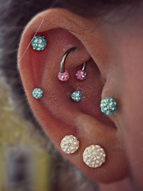 Ferido Crystal Ear Piercings at MyBodiArt