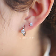 Nina Dainty Small Crystal Flower Ear Piercing Stud Earrings in Silver or Gold