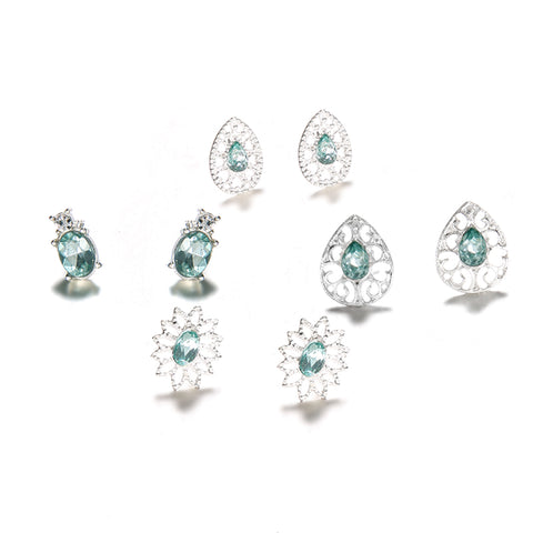 Pretty Victorian Gemstone Studs Earrings - Cute Traditional Vintage Antique Old Fashioned Classy Dangle Stone Crystal Emerald Jade Earring Set - www.MyBodiArt.com #earrings