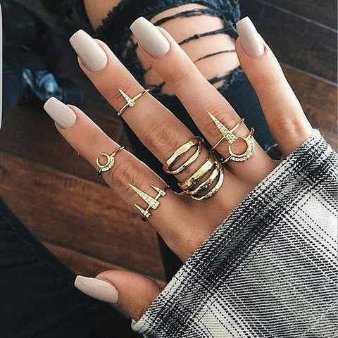 Modern Boho Ring Set for Teens Cute Crystal Moon Chunky Midi Knuckle Fashion Rings in Gold - www.MyBodiArt.com #rings