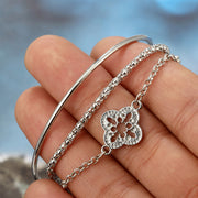 Women's Cute Layered Silver Bracelet Set Leaf Bangle Dainty Clover Chain Watch Fashion Jewelry for Teens - www.MyBodiart.com #bracelets
