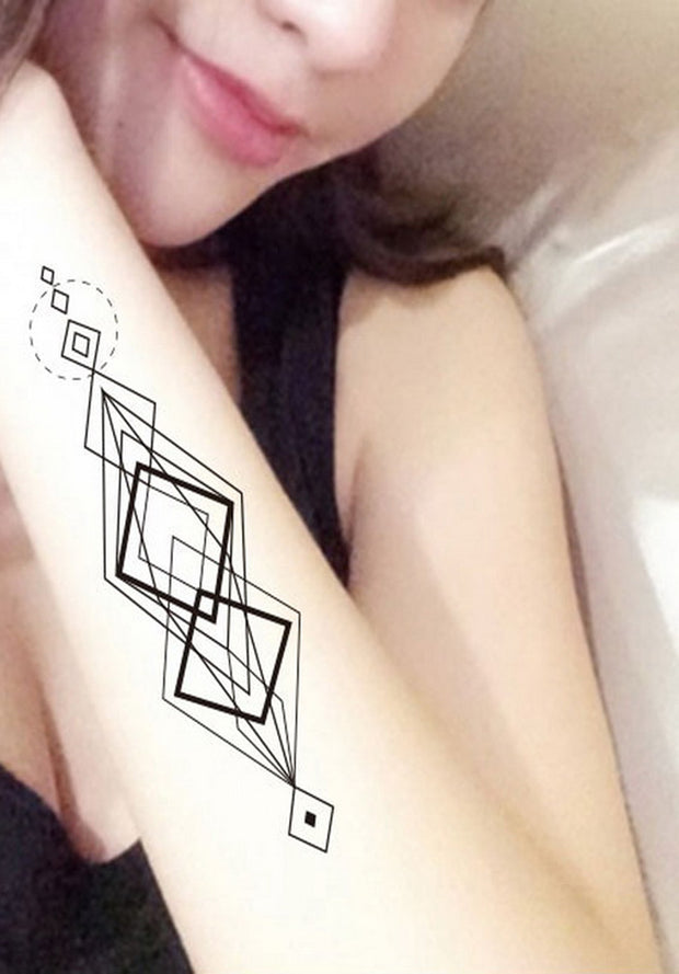 Geometric Abstract Diamond Shape Forearm Tattoo ideas for Women - www.MyBodiArt.com