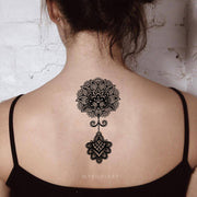 Boho Black Henna Mandala Lotus Spine Back Tattoo Ideas for Women -  Boho loto volver tatuaje ideas para mujeres - www.MyBodiArt.com