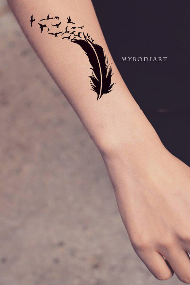 Cute Feather Sparrow Silhouette Forearm Tattoo Ideas for Women - www.MyBodiArt.com