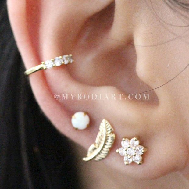 Cute Crystal Conch Ear Cuff Ear Piercing Ideas for Women -  Flower Earring Stud 16G - lindas ideas para perforar orejas para mujeres - w
