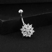 Cute Swarovski Crystal Silver Belly Button Piercing Stud Bar Navel Ring Body Jewelry - www.MyBodiArt.com