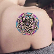 Watercolor Geometric Mandala Shoulder Tattoo Ideas for Women - Unique Popular Tribal Tats -www.MyBodiArt.com #tattoos