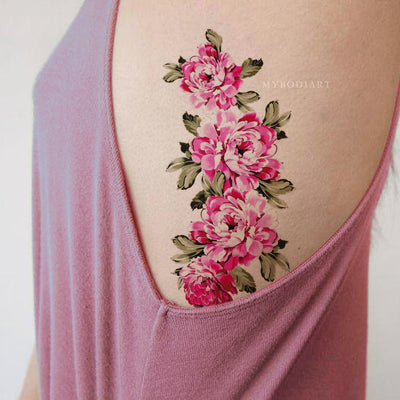 Pretty Pink Floral Flower Rib Temporary Tattoo Ideas for Women -  Ideas de tatuaje de flor rosa para mujeres - www.MyBodiArt.com