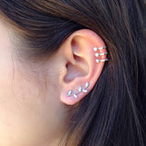 Unique Cute Multiple Ear Piercing Ideas - Cartilage Helix Triple Crystal Ear Cuff Earring Ring Hoop -  Ideas únicas para perforar orejas múltiples - www.MyBodiArt.com