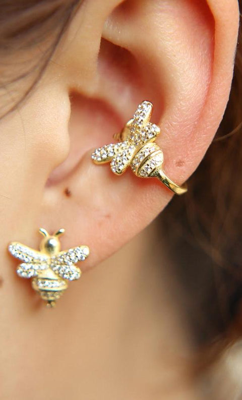 Classy Multiple Ear Piercing Ideas for Girls - Honey Bee Cartilage Conch Ear Cuff Earring Ring - www.MyBodiArt.com