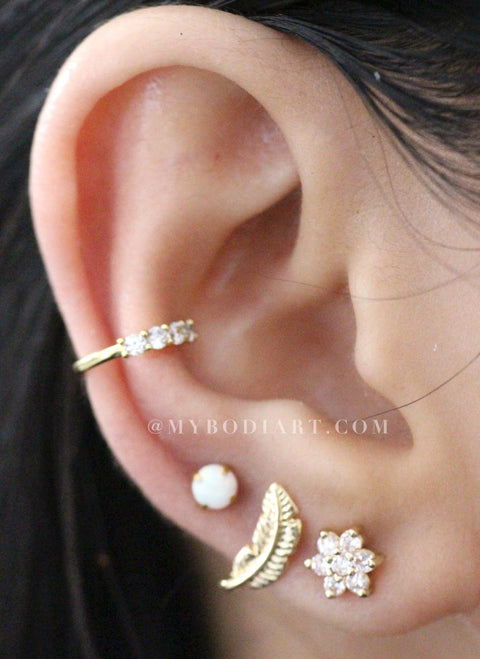 Arie Small Leaf Ear Piercing Jewelry 16g For Cartilage