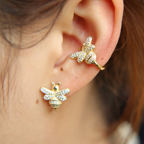 Cute Unique Ear Piercing Ideas Conch Honey Bee Cuff Ring Hoop Earring in Gold - www.MyBodiArt.com