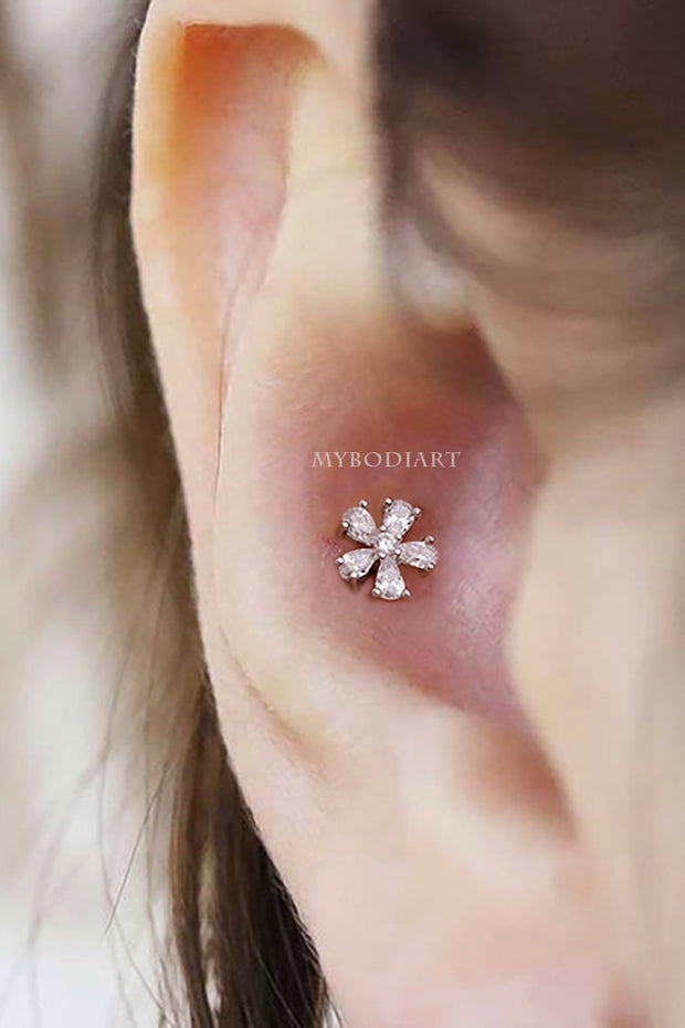 Cute Small Flower Conch Ear Piercing Jewelry Ideas Earring Studs 16G Silver - www.MyBodiArt.com