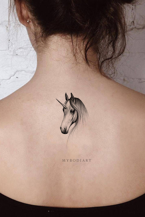 Cute Black Unicorn Horse Back Temporary Tattoo Ideas for Women Sketch Drawing - www.MyBodiArt.com