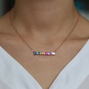 Cute Dainty Jagged Rainbow Gemstone Crystal Pendant Stackable Layered Choker Necklace in Gold Statement Fashion Jewelry for Women for Teen Girls - lindo collar de arco iris - www.MyBodiArt.com