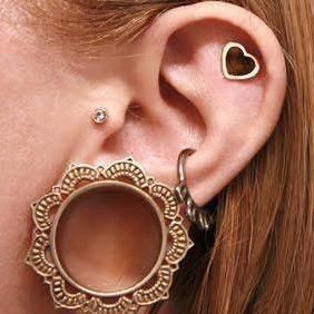 Tribal Brass Ear Gauge Plug Tunnel Earring at MyBodiArt.com
