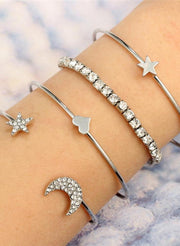 Cute Stacked Simple Crystal Star Moon Bangle Bracelet Summer 4 Pieces Set Brazalete Silver -  www.MyBodiArt.com