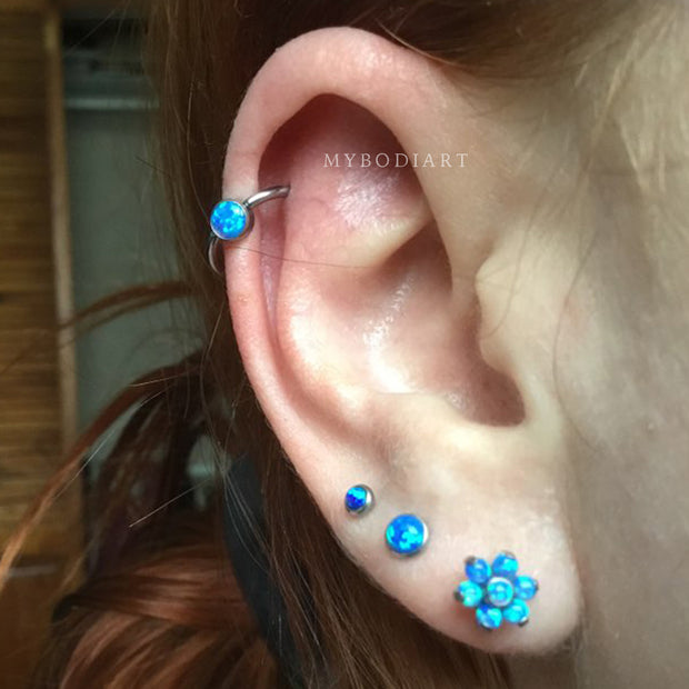 Cool Multiple Ear Piercing Ideas Jewelry for Women Opal Blue Cartilage Helix Ring Earring -  Ideas simples para perforar los oídos de las mujeres - www.MyBodiArt.com